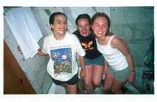 1999: Young Katy and friends washing clothes in their Barcelona hotel tub.