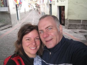 Here we are at La Ronda in Quito.  This is Tony's first trip to South America and his first time in a Spanish speaking country.