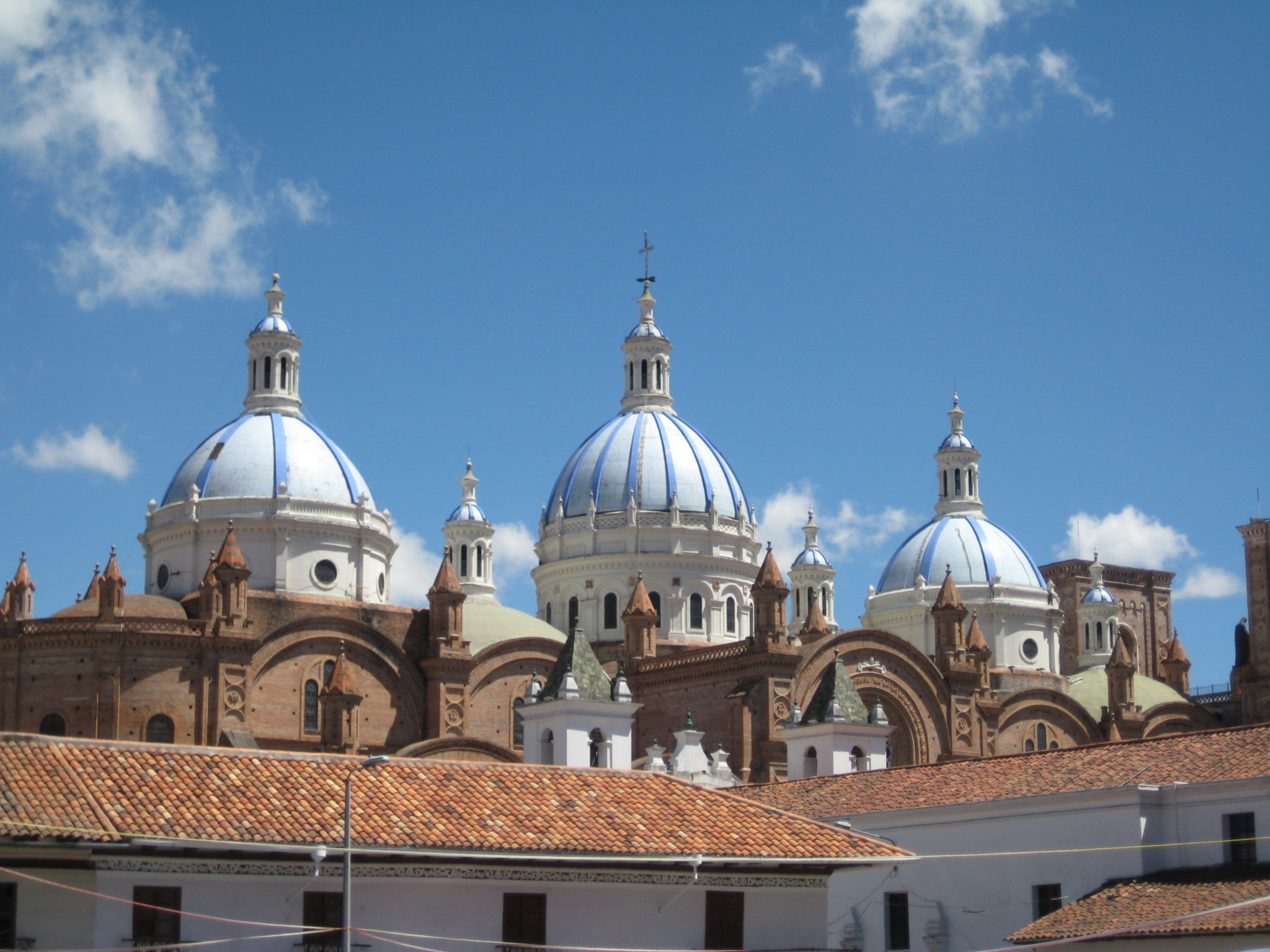 """The blue domes of the """"new"""" cathedral. You can see them from many places in the city."""