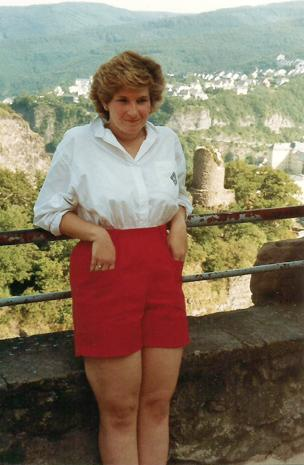Kyle's mom, Carol, visiting one of the many castles she enjoyed visiting while living in Europe in 1987.
