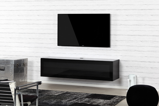 Meuble Tv Infrarouge Sta160 Noir - Verre Infrarouge - Meliconi