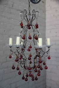 Italian Red & Clear Crystal Chandelier | Melissa Levinson ...
