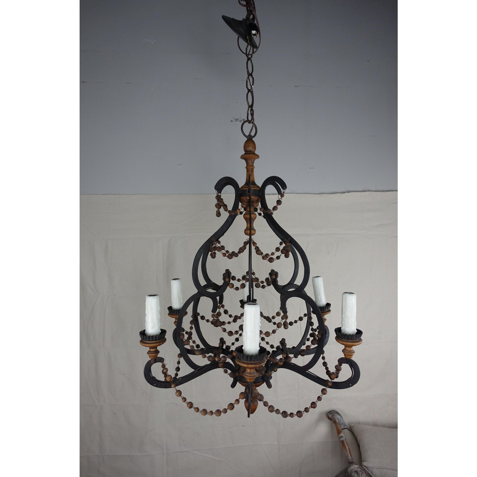 Spanish Chandelier Spanish Wrought Iron Wood Beaded Chandelier