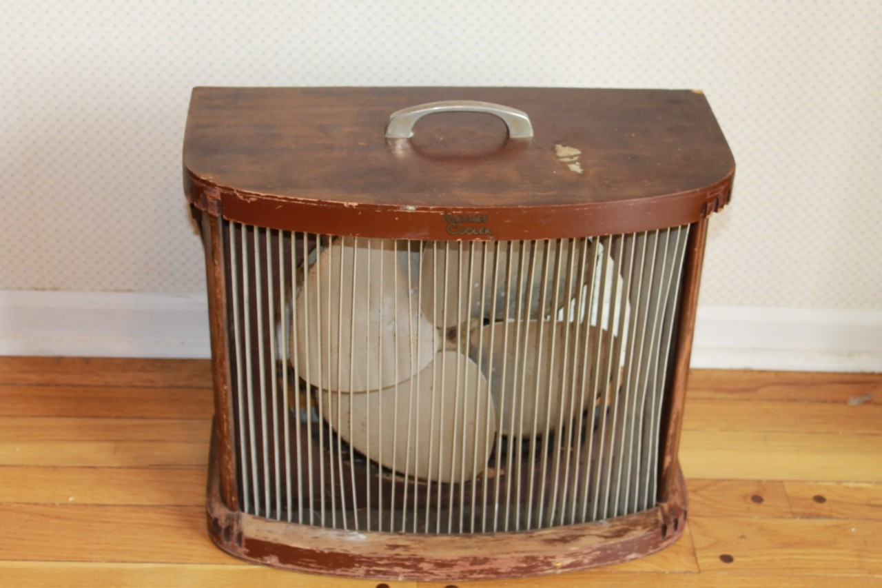 Wooden Electric Fan Vintage Mathes Cooler Parlor Floor Electric Wood Fan
