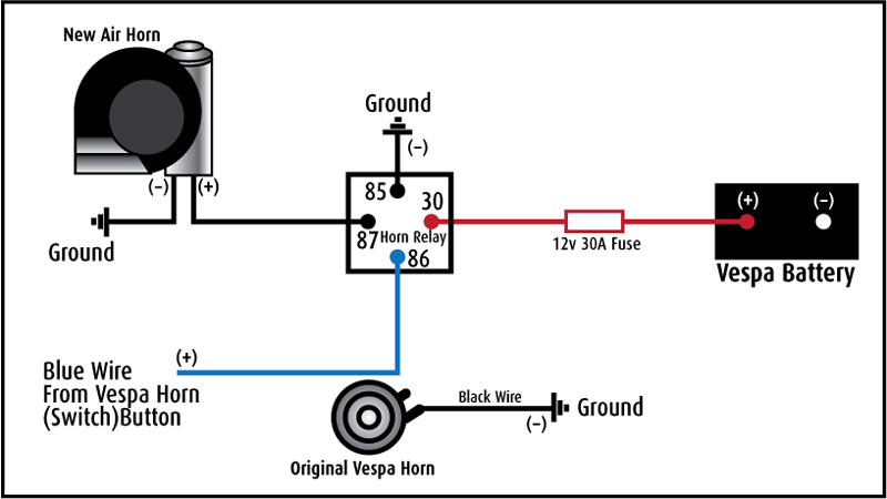 car horn relay schema cablage