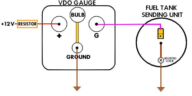 wiring diagram also electric oil pressure gauge wiring on vdo gauge