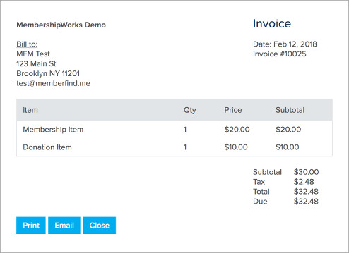 Allow Members to View, Print, Email  Pay Invoices - MembershipWorks - Invoice Print