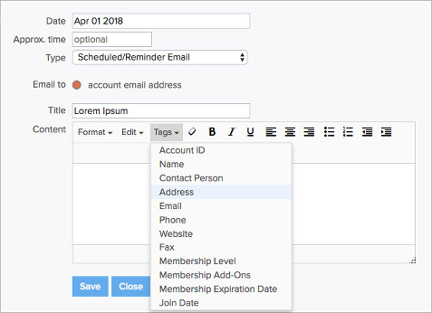 Embed Tags in Scheduled/Reminder Emails - MembershipWorks