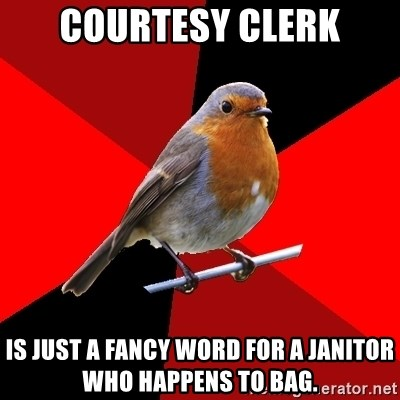 courtesy Clerk is just a fancy word for a janitor who happens to - another word for janitor