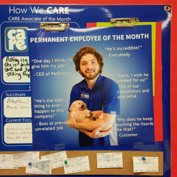 For my last day of work at the pet store I made myself Employee of - employee of the month 2