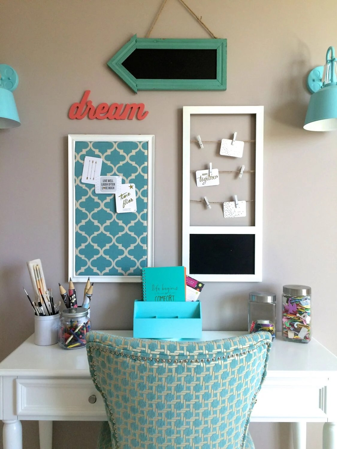 Teenage Girl Desk Accessories Turquoise Teen Room And Organized Desk Craft Table