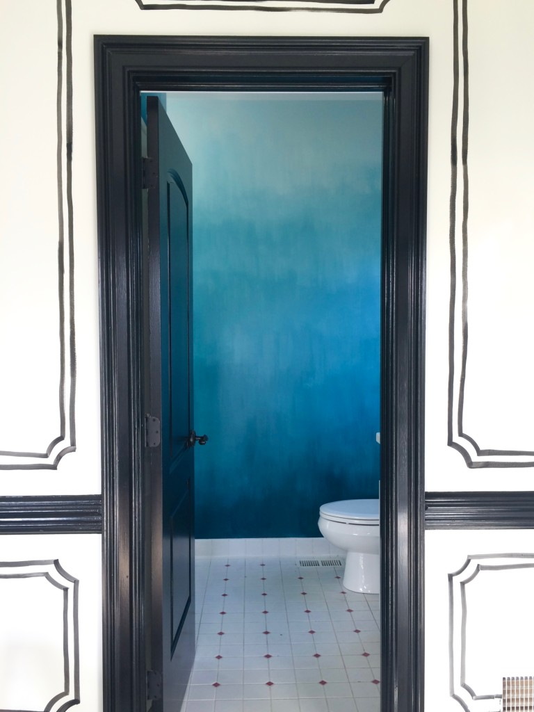 Operation Ombre: Turquoise dip dyed painted wall treatment