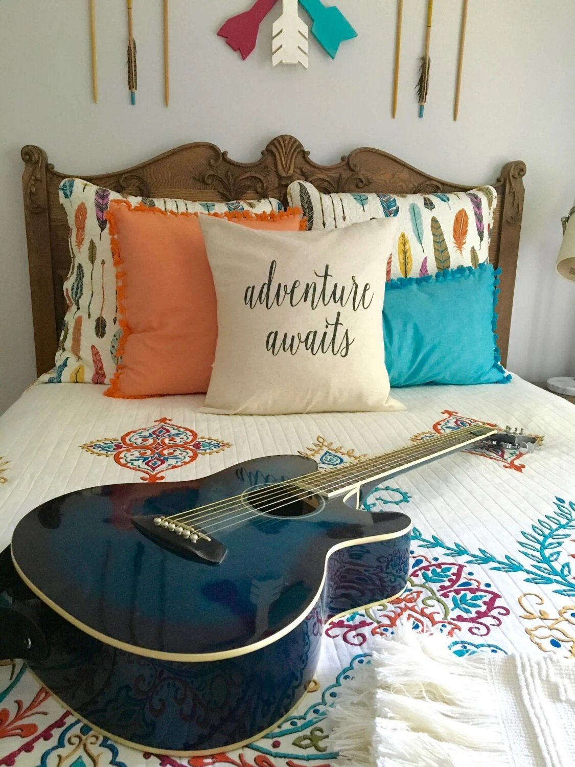 Guitar Decor For Bedroom Boho Chic Teen Girls Room Makeover Adventure Awaits