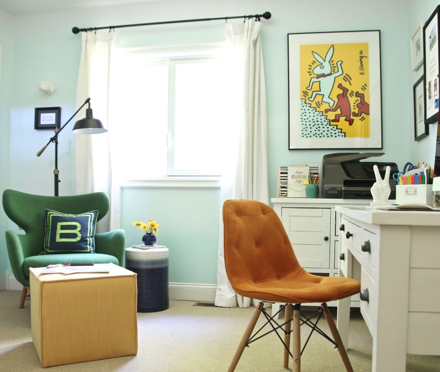 Home Office Club A Boring Home Office Gets A Practical Bright Colorful Makeover