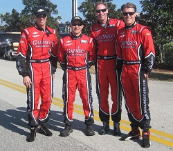 From left to right: Memo Gidley, Jon Fogarty, Darren Law, and Alex Gurney partnered for GAINSCO/Bob Stallings Racing in the 2013 Rolex 24 Hours of Daytona.