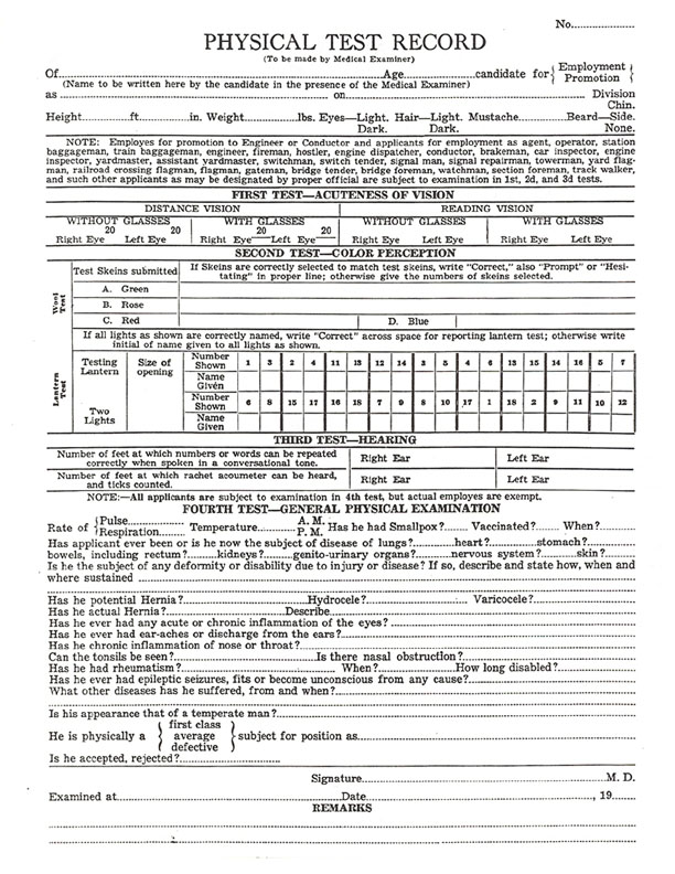 Yosemite Valley Railroad Details - Employee Application - medical examiner job description