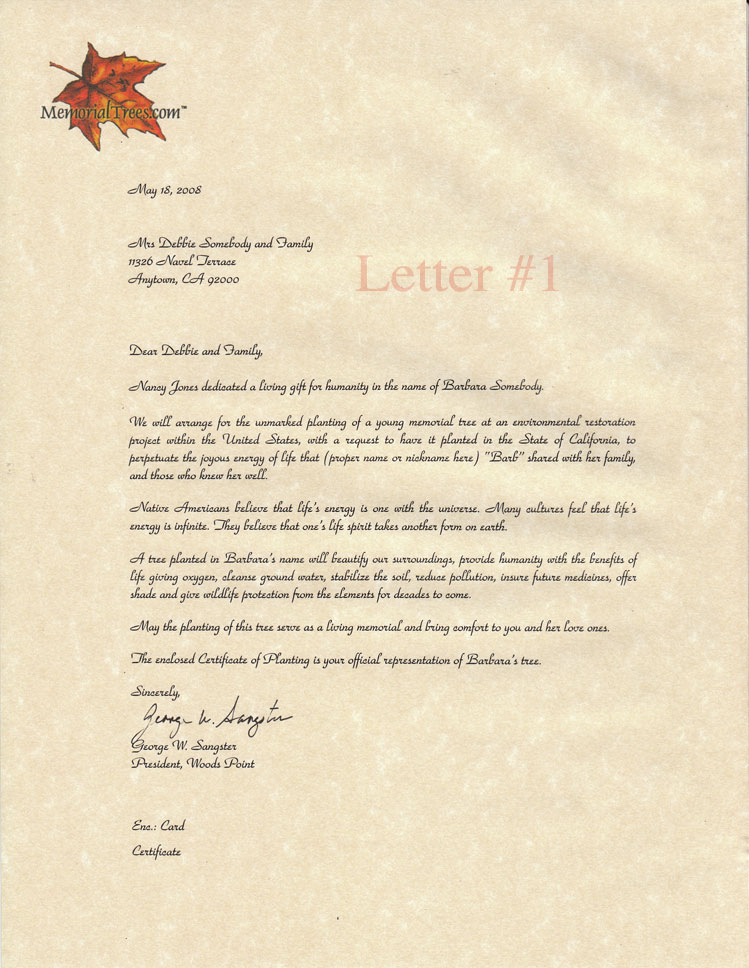 Sample Sympathy Letters - Memorial Trees