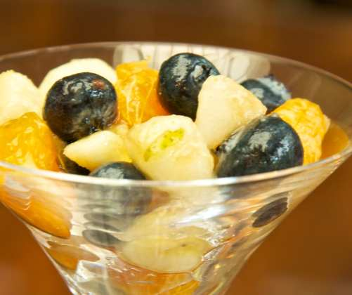 "My ""Halloween style"" fruit salad: pears, bananas, blueberries and mandarine oranges"