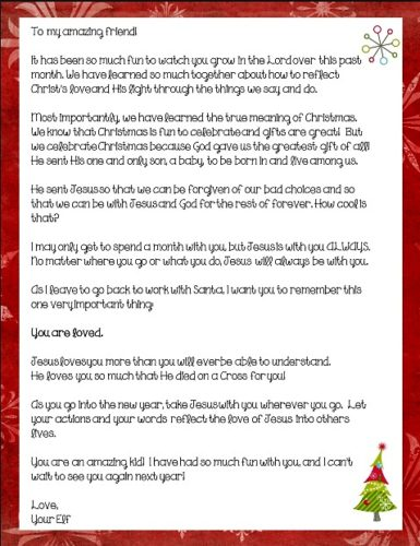 Elf on the Shelf Jesus Style Farewell Letter - Mended By Mercy - farewell letter