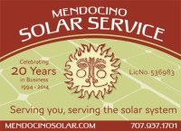Mendocino Solar Service celbrating 20 Years in Business