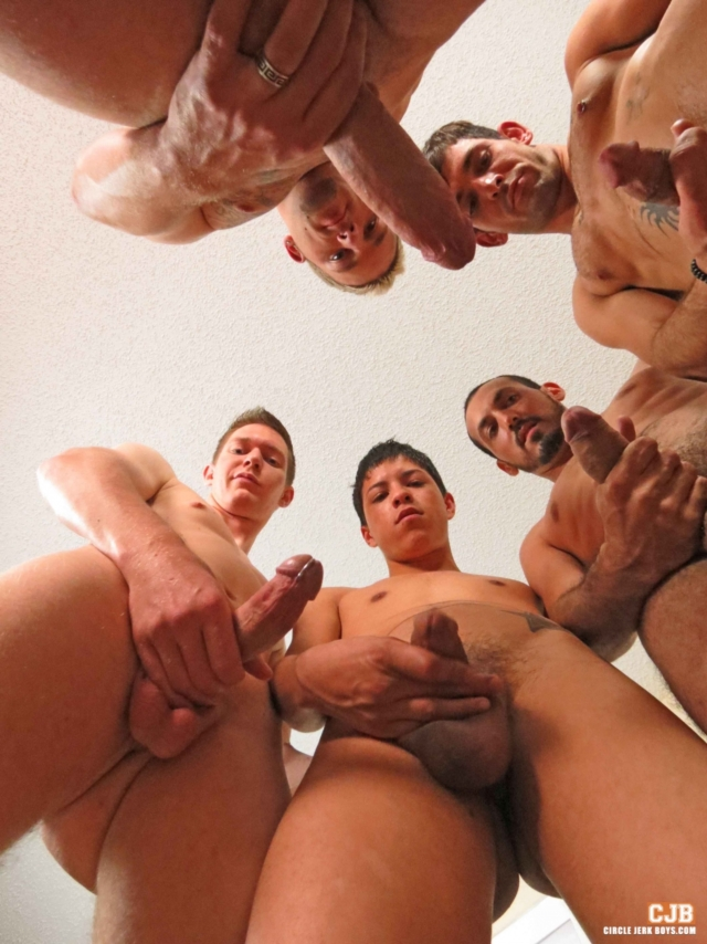 guys surrounded by cocks