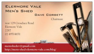 Mens Shed Our Business Card