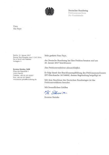 Antwort des Petitionsausschusses des Deutschen Bundestages