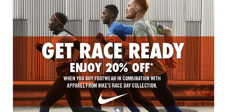 Get race ready with 20% off Nike kit
