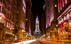Philly City Hall Broad street at night