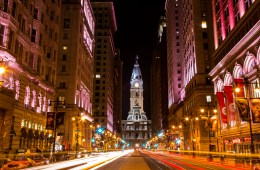 Philly City Hall Broad street at night