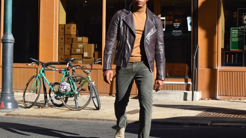 Sabir M. Peele Of Men's Style Pro In Asos Leather Moto Jacket