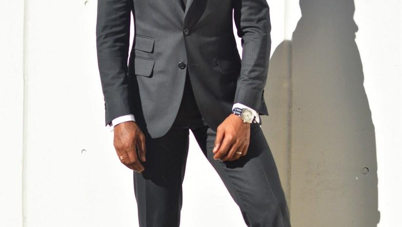 Sabir M. Peele in Oliver Wicks Track Stripe Suit 2
