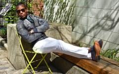 Sabir M. Peele in Grey Leather Aviator Jacket from Cockpit USA