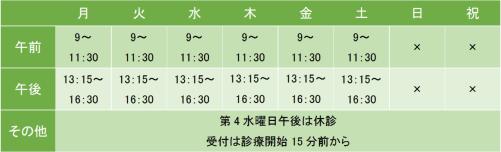 相州メンタルクリニック茅ヶ崎の診療時間