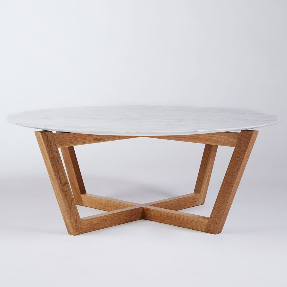 Marcello round coffee table italian carrara marble and american white oak round coffee table white