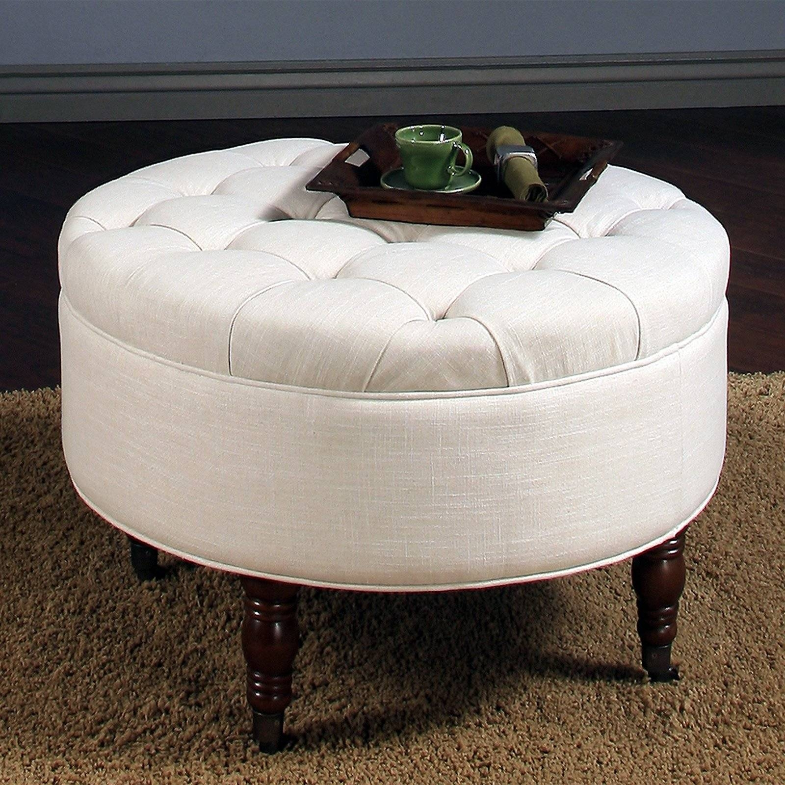 Brown Leather Coffee Table Ottoman 30 Inspirations Of Round Upholstered Coffee Tables