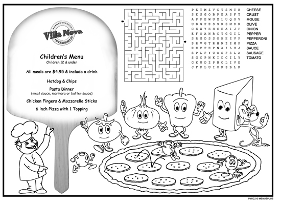 Children\u0027s Menus Kid\u0027s Placemat Coloring Menus for Restaurants