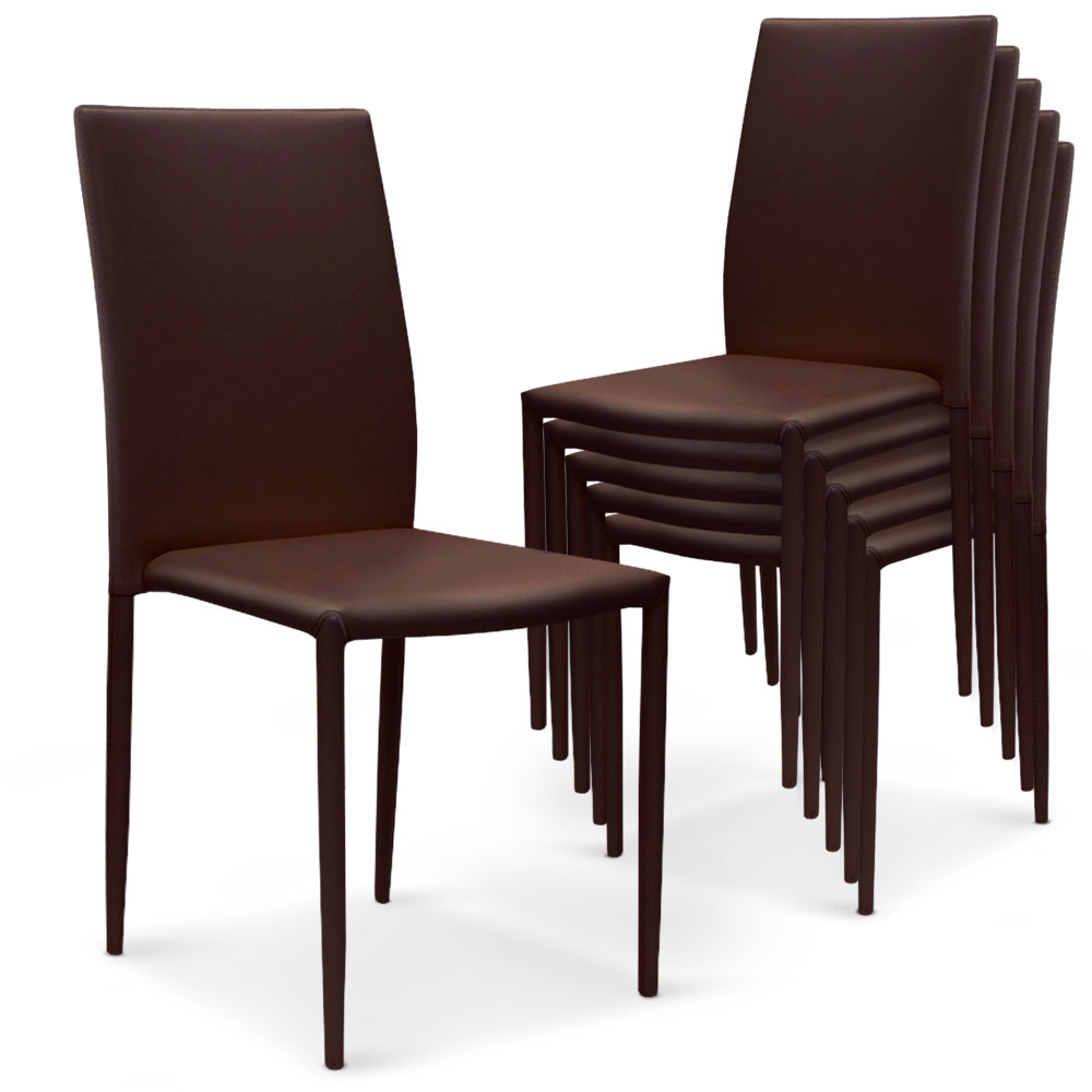 Lot De 6 Chaises Marron Lot De 6 Chaises Modan Simili P U Marron
