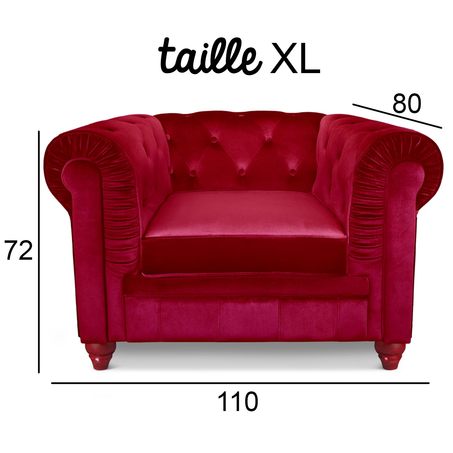Chesterfield Velours Fauteuil Chesterfield Velours Capitonné Rouge