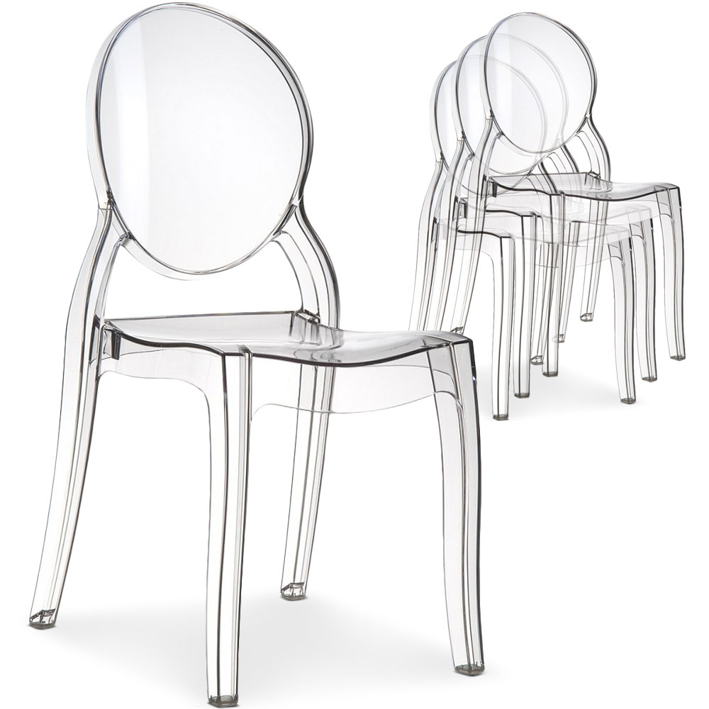 Lot 4 Chaises Transparentes Lot De 4 Chaises Diva Pvc Transparent