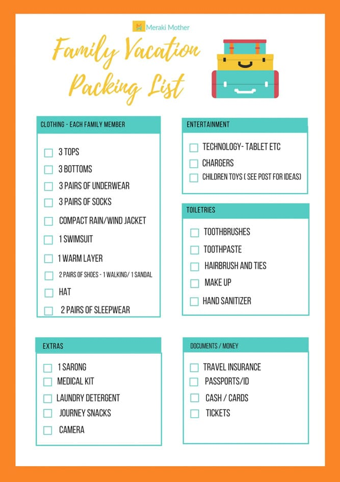 How to Pack Light for a Family Vacation - Meraki Mother - Vacation Packing List Printable