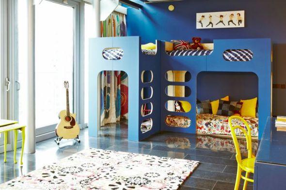 blue bunk bed