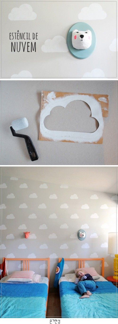 parete_nuvole_faidate stencil handmadecharlotte