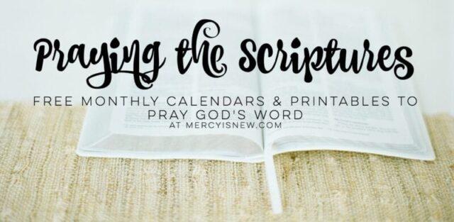 Monthly Prayers  Printables