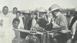 German traveler Arnold Holtz presents Ethiopian Emperor Menelik II with a car manufactured in Ge ...
