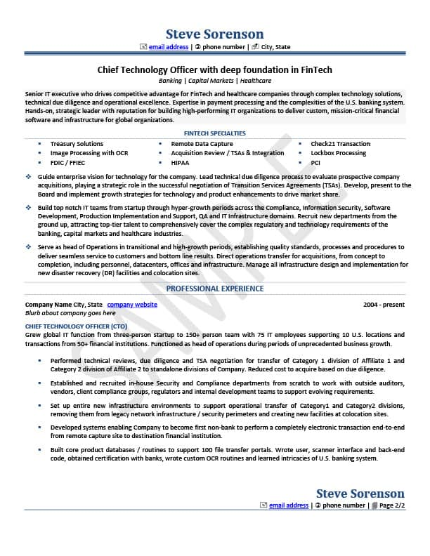 Resume Samples - Merideth Mehlberg Career Group - chief technology officer sample resume