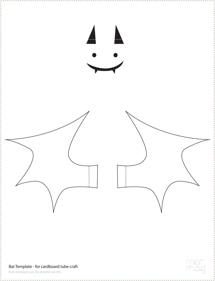 Mer Mag Halloween Flashback Carboard Tube Bat Treat holders - bat template