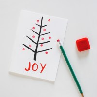 DIY Eraser Stamped Christmas Tree Card