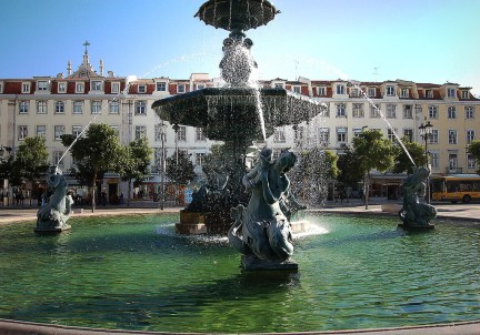 Rossio Square fountain with 4 mermaid sculptures
