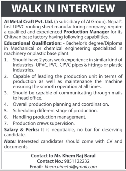 Production Manager Job Vacancy in Nepal - Al Metal Craft - March - production manager job description